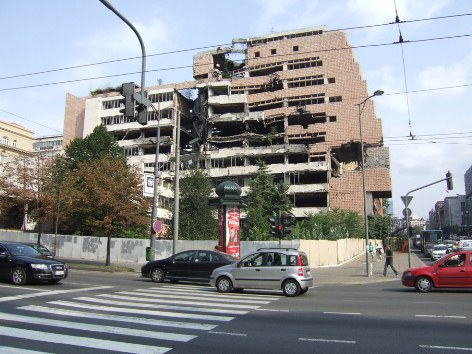 Belgrade bombed building