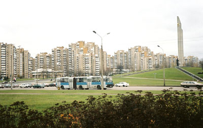 Drab apartment buildings in Minsk