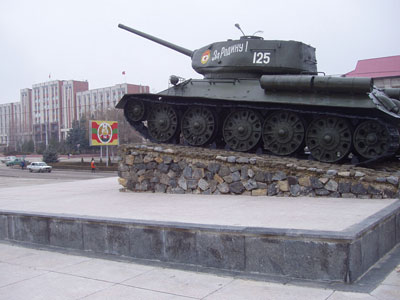 Soviet tank in downtown Tiraspol