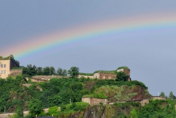 1. A rainbow arches over the Ehrenbreitstein Fortress following heavy rains in Koblenz, Germany