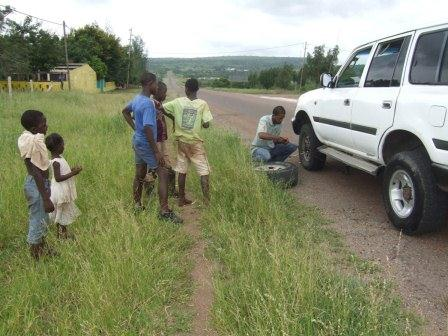 Flat tire in Mozambique