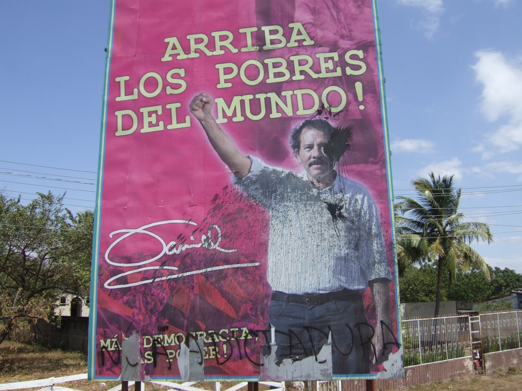 Daniel Ortega defaced billboard