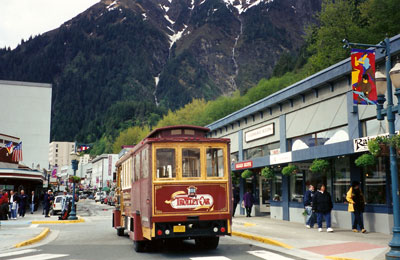 Trolley car in downtown Juneau