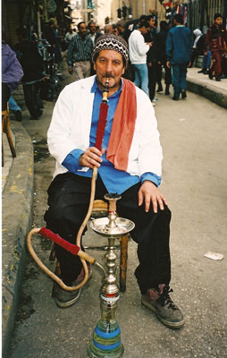 Smoking a water pipe in Cairo